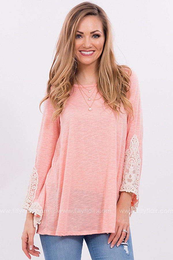 Flower Bed Lace Top in Coral