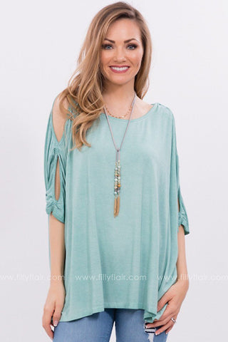 Early to Rise Lace Cut Out Top in Emerald