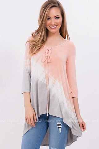 I'm Yours Tie Dye Lace Up Tunic in Peach