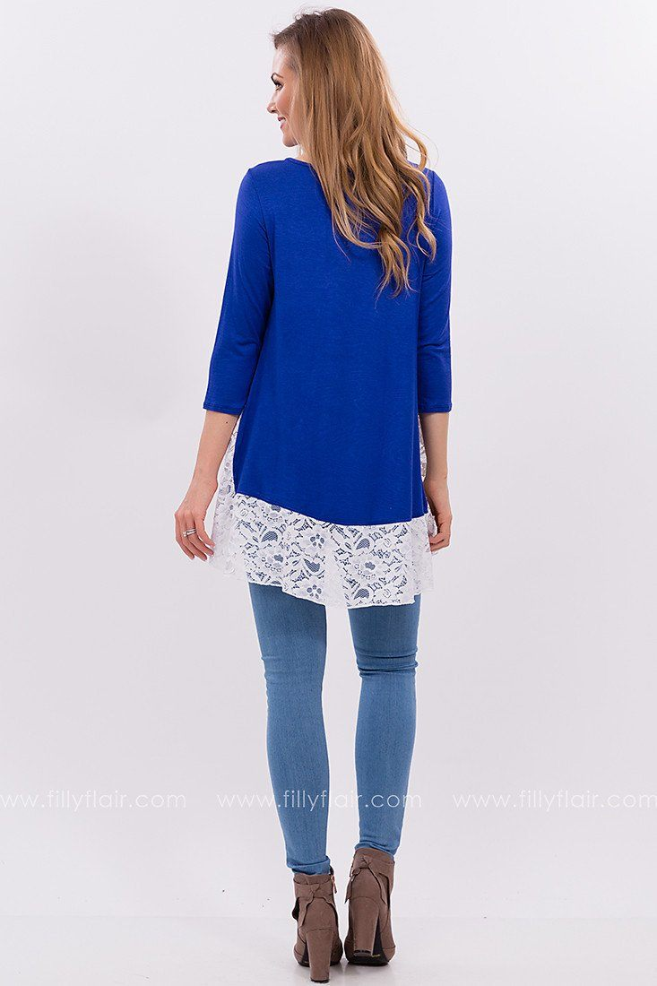 Crystal Vision Lace Top in Cobalt