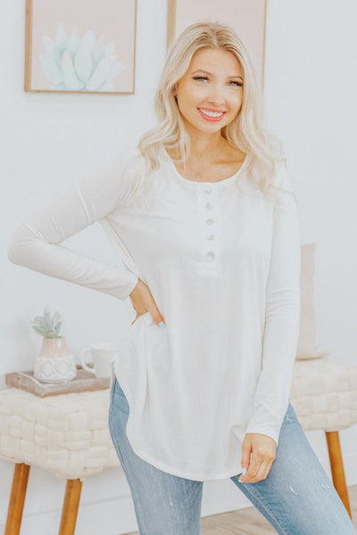 Enjoy the Little Things Long Sleeve Top in Ivory - Filly Flair