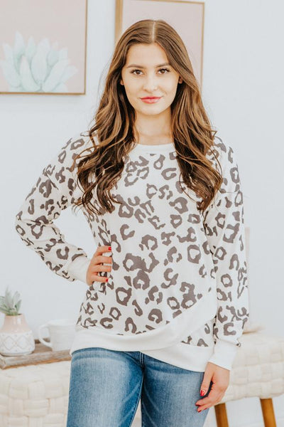 Good Work Pays Off Cheetah Front Wrap Long Sleeve Top in Off White - Filly Flair