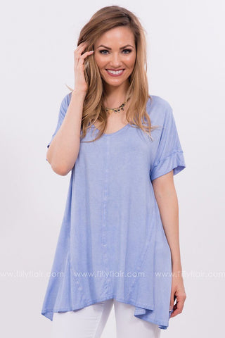 Keep It Simple Oversized Tee in Light Blue