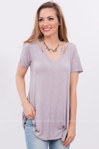 Smile Away Cut Out Tee in Lavender