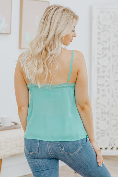 Head Up Gorgeous Lace V Neck Sleeveless Tank Top in Jade Blue - Filly Flair