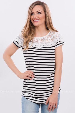 Not Your Everyday Striped Top in Black
