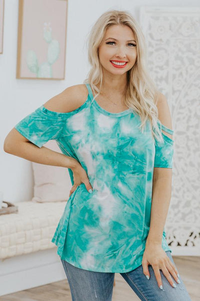 Find Balance Cold Shoulder Top in Teal - Filly Flair