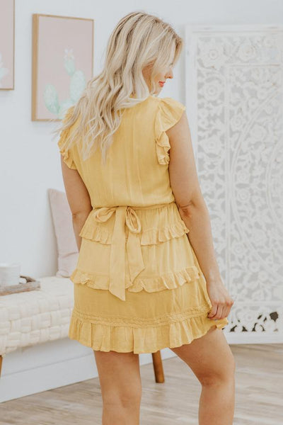 Choose Hope Short Sleeve Ruffled Dress in Marigold - Filly Flair