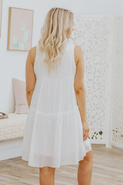 Don't Change A Thing Ruffle Sleeveless Midi Dress in White - Filly Flair