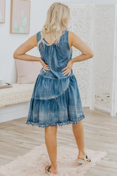 Believe In Yourself Sleeveless Dress in Denim - Filly Flair