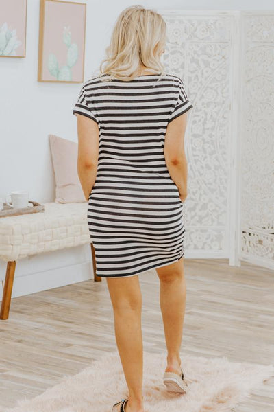 Do Justice Striped Pockets Short Sleeve Dress in Black - Filly Flair