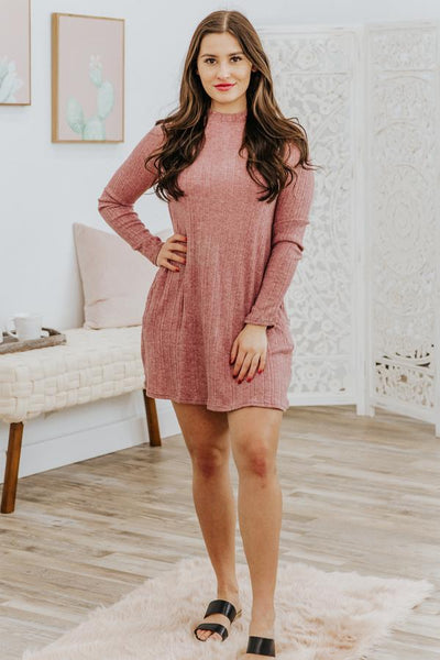 Leave You with a Smile Long Sleeve Dress in Merlot - Filly Flair