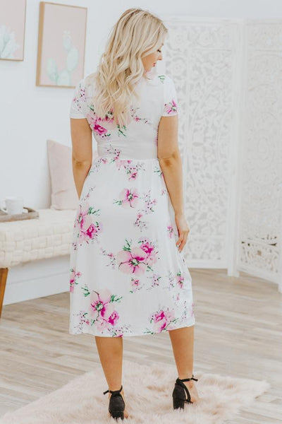 Never Regret Anything Floral Short Sleeve Dress in White - Filly Flair