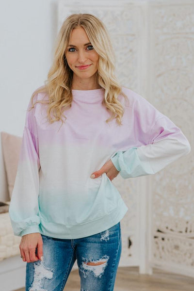 Singing In Spring Ombre Color Block Long Sleeve Sweater in Blue Lilac - Filly Flair