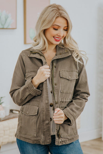 Jolie Judy Blue Utility Jacket in Olive - Filly Flair