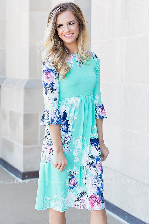 Ocean Waves Floral Print Dress
