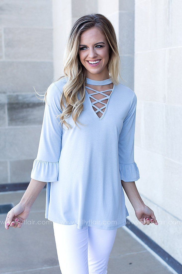 She's a Gem Criss Cross Top in Light Blue