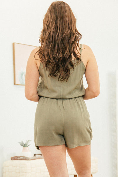 Be The Exception Asymmetric Button Spaghetti Strap Romper in Olive - Filly Flair