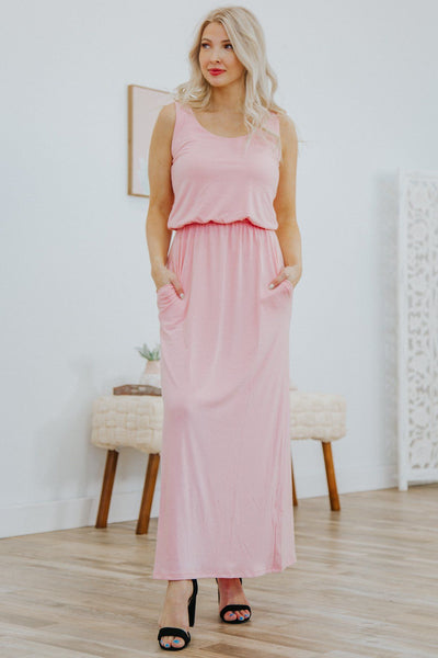Do What You Can Sleeveless Dress in Dusty Pink - Filly Flair