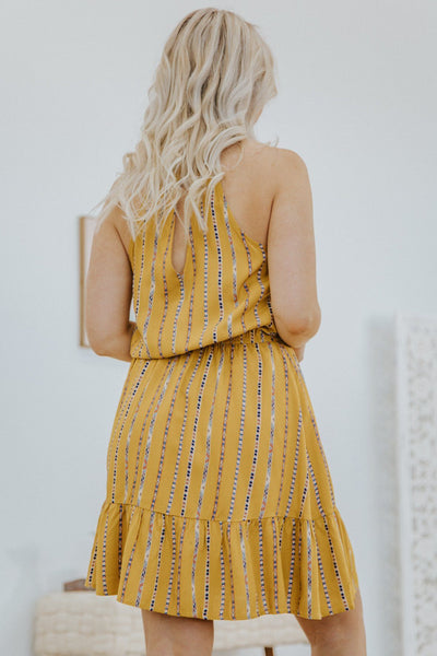 Fearlessly Be Yourself Halter Elastic Waist Dress in Mustard - Filly Flair
