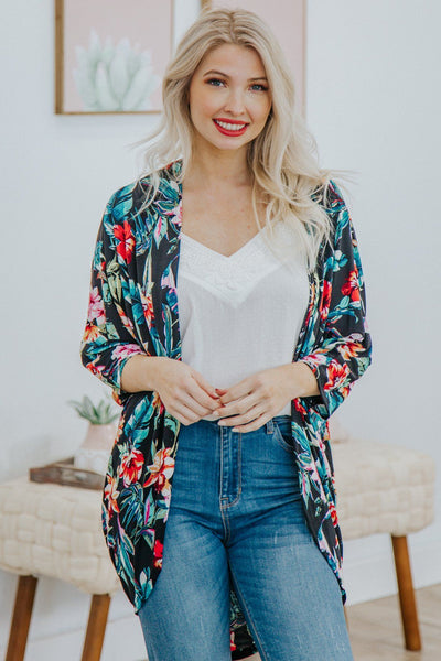 Sun In The Sky Short Sleeve Floral Dolman Kimono in Black - Filly Flair