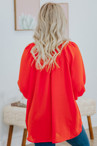 Making It Count Long Sleeve V Neck Top in Orange - Filly Flair