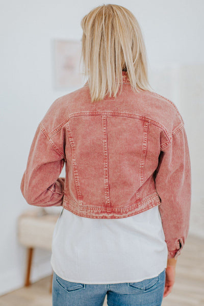 Never Felt This Good Acid Washed Denim Long Sleeve Jacket in Marsala - Filly Flair