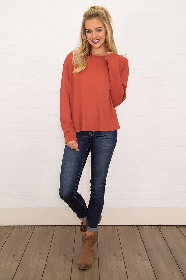 Warm Me Up Basic Long Sleeve Top in Brick
