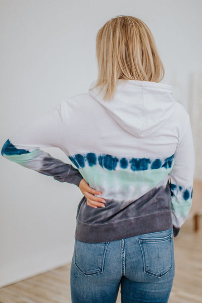 Hold My Hand Tie Dye Hoodie Long Sleeve Top in White - Filly Flair