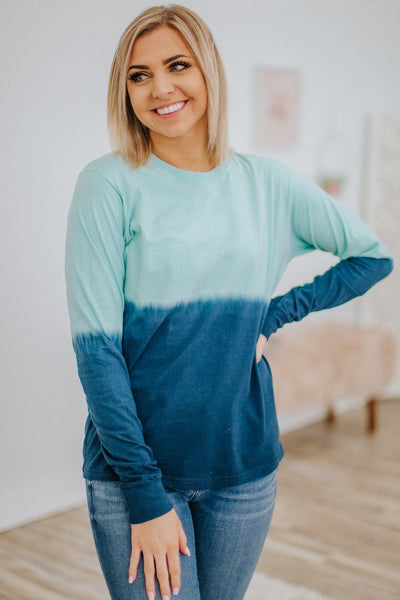 Without A Care Ombre Long Sleeve Top in Seafoam Navy - Filly Flair