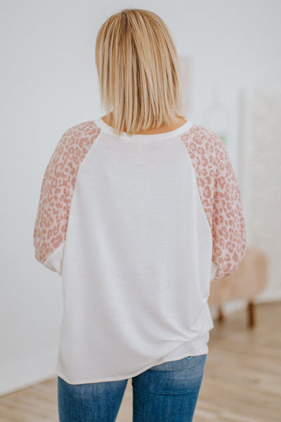 Perfect Night Leopard Long Puff Sleeve Dolman Top in Ivory - Filly Flair