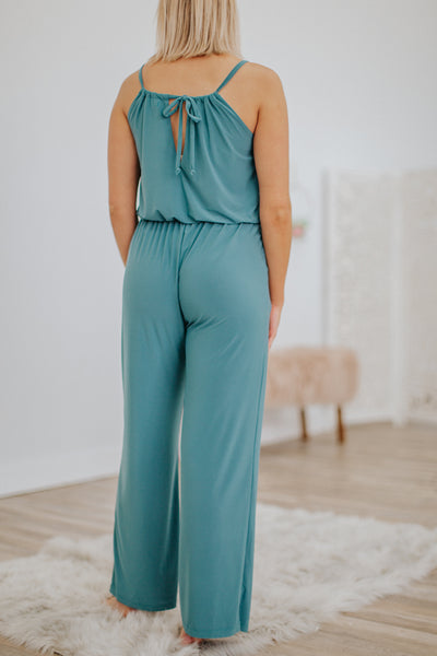 Be Like Me Elastic Waist Wide Leg Pleated Sleeveless Jumpsuit in Teal - Filly Flair