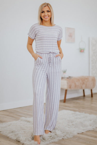 Happy Hour Striped Short Sleeve Jumpsuit in Heather Grey - Filly Flair