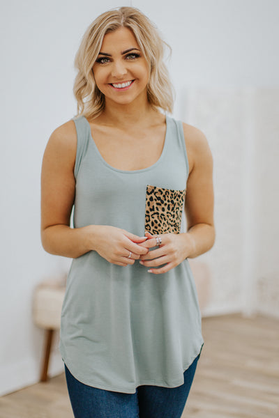 First In Line Sleeveless Leopard Pocket Tank Top in Light Green - Filly Flair