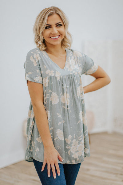Short Sleeve Floral Tunic in Slate Green - Filly Flair
