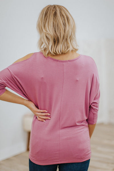 Find Me Cold Shoulder 3/4 Sleeve Dolman Top in Dark Mauve - Filly Flair