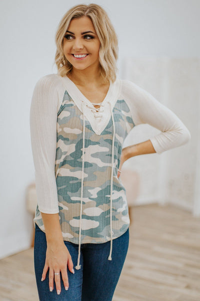 Let's Meet Up Ribbed Camo Criss Cross V Neck Long Sleeve Top in Cream - Filly Flair