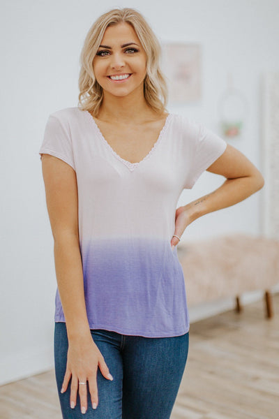 Made For One Another Ombre Lace V-Neck Top in Lavender - Filly Flair