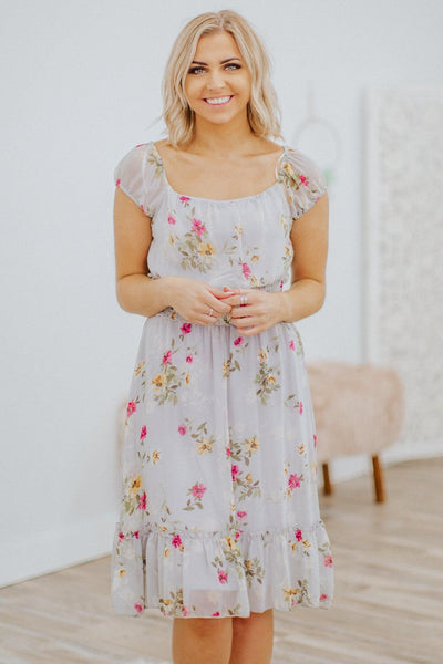 Why Not Now Floral Sleeveless Dress in Silver - Filly Flair
