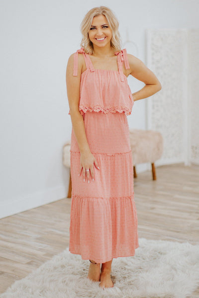 Number One Baby Swiss Dot Crochet Ruffle Tie Strap Sleeveless Dress in Peach - Filly Flair