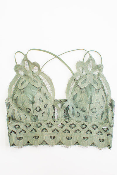 Beauty Inside Crochet Lace Bralette in Light Olive - Filly Flair