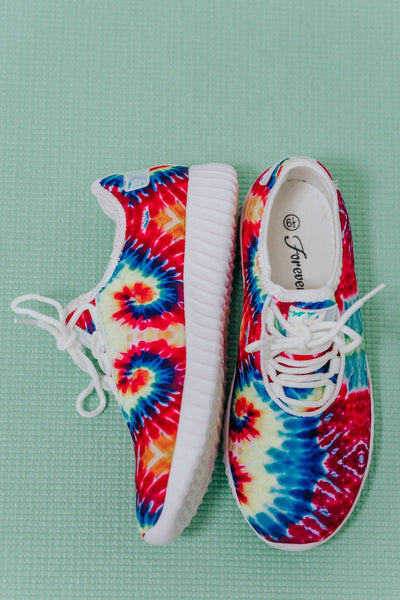 Sparkling Bright Sneakers in Red Tie Dye - Filly Flair