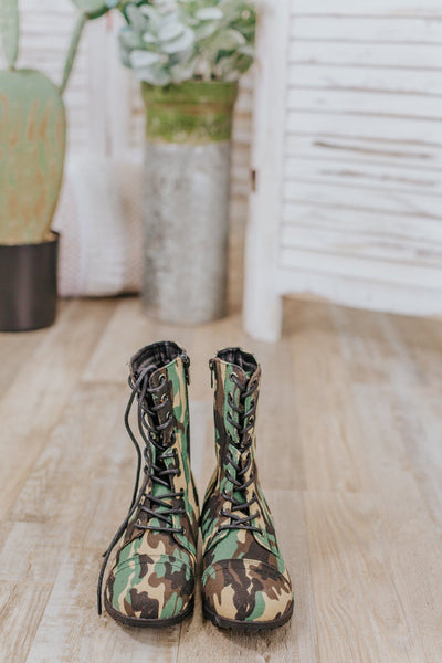 Thinking Outside Combat Boots in Camouflage - Filly Flair