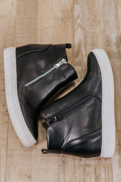 Follow My Lead Wedge Sneaker in Black - Filly Flair