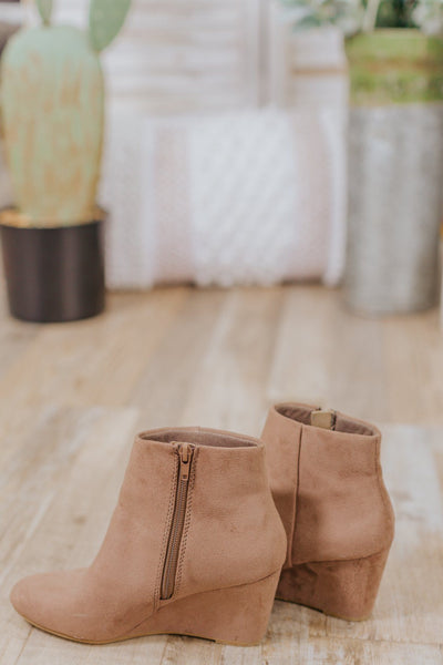 Taking On The World Suede Booties in Taupe - Filly Flair