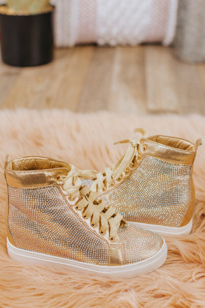 Not Staying Hidden Wedge Sneaker in Champagne - Filly Flair