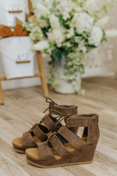 Double Take Lace Up Wedge Sandal in Brown - Filly Flair