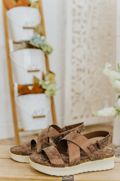 See You Soon Triple Strap Wedge Sandal in Bronze - Filly Flair