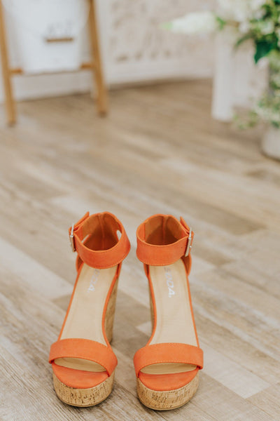 Let's Roll Wedge Buckle Sandals in Coral - Filly Flair