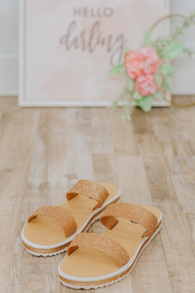 Class Act Double Strap Shimmer Sandals in Rose Gold - Filly Flair